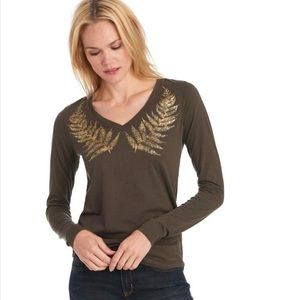 Long Sleeve Vneck with Foil Palm detail